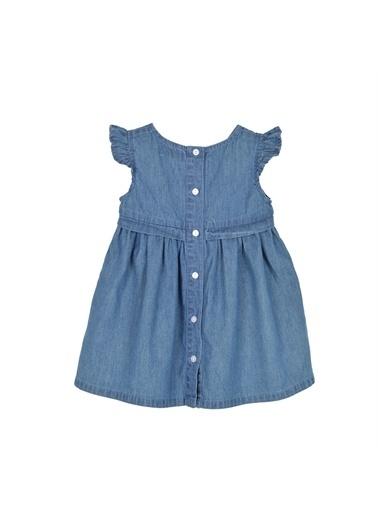 Silversun Kids Kız Bebek Koyu Denim Arkadan Düğmeli Cep Ve Fırfır Detaylı Kot Elbise - Ek 115976 Mavi